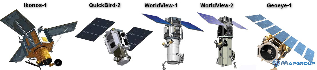 Спутники ДЗЗ компании DigitalGlobe (Ikonos-1, QuickBird-2, WorldView-1, WorldView-2, Geoeye-1)