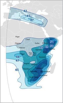 Зона покрытия спутника ABS-2A на территорию Африки