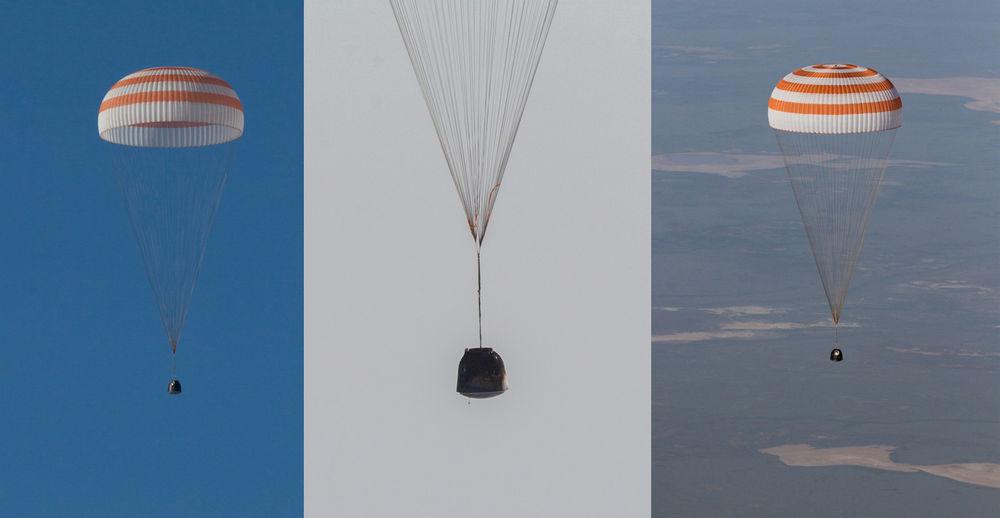 Почти после 200 дней пребывания в космосе О.Новицкий и Т.Песке вернулись на Землю
